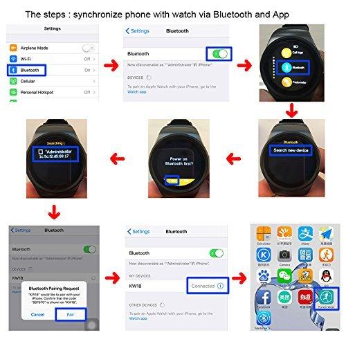 Raffia Ritmo cardíaco Bluetooth kw18 SmartWatch con Ranura ...