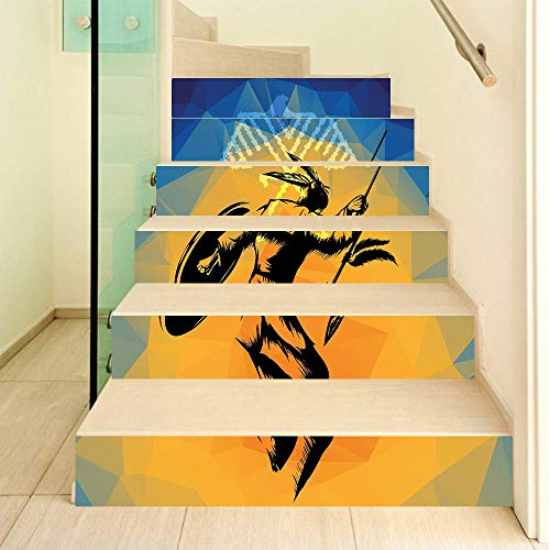 Native American 3D Stair Stickers Decals-6Pcs/Set,War Dance Ritual Against Ancient Totem Poly Effect Triangles Abstract Stair Risers Stickers Removable Staircase Decals Mural Wallpaper for Home Decor