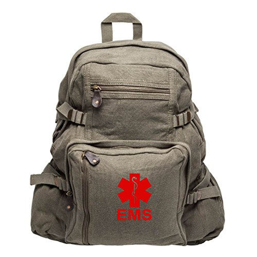 EMS Emergency Medical Services Army Sport Heavyweight Canvas Backpack Bag in Olive & Red, Large