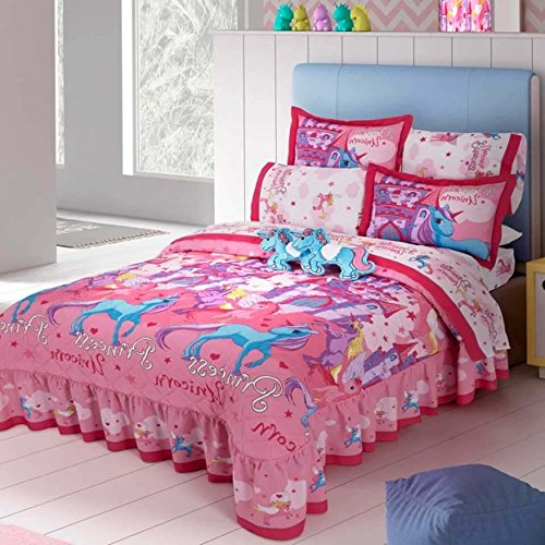 LIMITED EDITION UNICORNS KIDS GIRLS BEDSPREAD SET 3 PCS TWIN SIZE by JORGE'S HOME FASHION