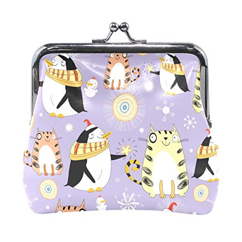JERECY Cute Animal Cats Penguin Snowman Coin Purse Leather Mini Clutch Pouch Wallet for Women Girls -