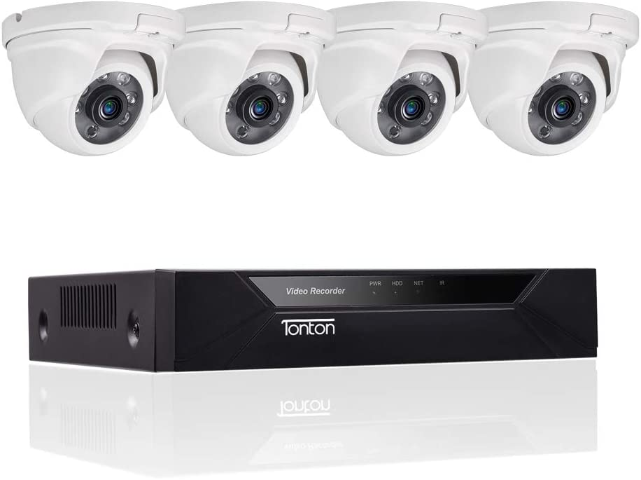 Tonton Full HD 8CH 1080P Expandable Security Camera System, 5-in-1 Surveillance DVR and 4 2.0MP Waterproof Outdoor Indoor Dome Camera, Free APP Remote Viewing and Email Alert HDD Not Included