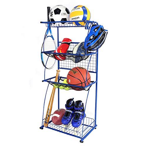 Mythinglogic Sports Equipment Garage Organizer, 4 Shelf Shelving Steel Organizer with Rack, Sports and Ball Gears Storage, Sport Balls Storage Organizer, Sport Utility Storage Rack, Blue Spray