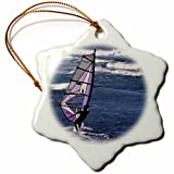 3dRose Windsurfing at Sunset, Maui, Hawaii, USA Us12 Gre0010 Gerry Reynolds Snowflake Ornament, 3''