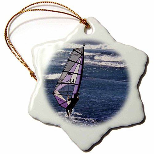 3dRose Windsurfing at Sunset, Maui, Hawaii, USA Us12 Gre0010 Gerry Reynolds Snowflake Ornament, 3'' by 3dRose