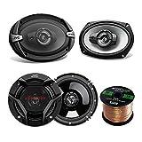 Car Speaker Package Of 2x JVC CS-DR6930 6x9' 500 Watt 3Way Vehicle Stereo Coaxial Speakers Bundle Combo With 2x CS-DR620 6.5' 300W 2-Way Audio Speakers,  Enrock 50 Foot 16 Guage Speaker Wire