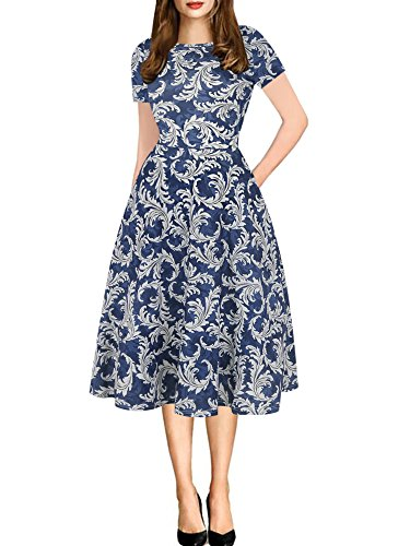 oxiuly Women's Chic Short Sleeve Round Neck Floral Casual Pockets Cotton Stretchy Party Cocktail Work T-Shirt Fit and Flare Dress OX262 (M, Blue)
