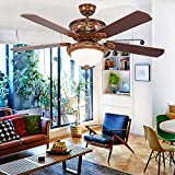 Andersonlight Modern Ceiling Fan with Five Harvest Mahogany/Brazilian Cherry Reversible Blades and LED Light Kit, Contemporary Chandelier Fan Light, Remote Control, New Bronze, 52-Inch