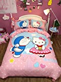 CASA 100% Cotton Kids Bedding Set Girls Doraemon and Hello Kitty the First Duvet cover and Pillow cases and Flat sheet,girls,4 Pieces,King