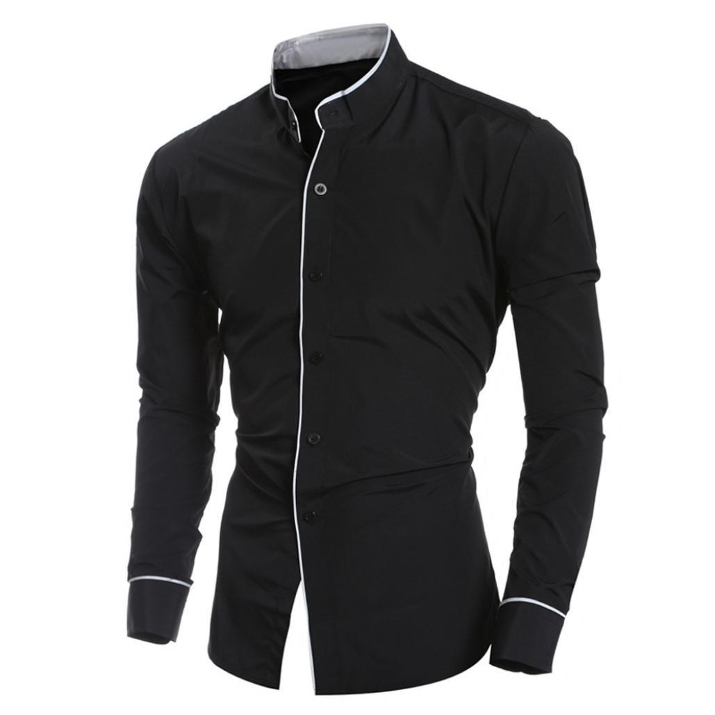 Men Dress Shirts Daoroka Cotton Casual Long Sleeve Work Wear Button Collar Blouse Slim Fit Fashion Comfort Business Tops T Shirt (M, Black)