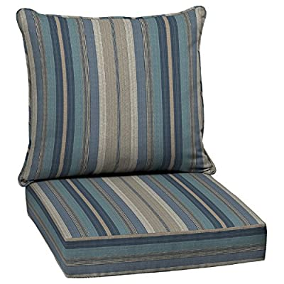 Outdoor 2 Pc Deep Seating Pillow Cushions Blue Striped for Indoor Outdoor Dining Chairs ~ Reversible