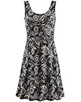 Women's Wildflowers Eclipse Sleeveless Black Summer Dress - Floral Print