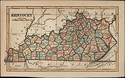 Kentucky state by itself c.1855 scarce antique map hand colored nice cerographic