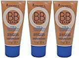 RIMMEL 9 in1 Skin Perfecting Makeup BB cream BROAD SPECTRUM SPF 25 MEDIUM/DARK (1 fl oz /30 ml) EACH TUBE (PACK OF 3) PLUS A FREE MUA LIP BALM #305 PEACH
