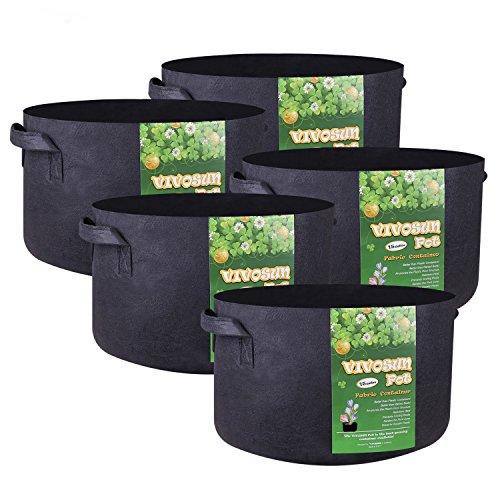 VIVOSUN 5-Pack 15 Gallon Plant Grow Bags, Premium Series Thichkened Non-Woven Aeration Fabric Pots w/Handles -...