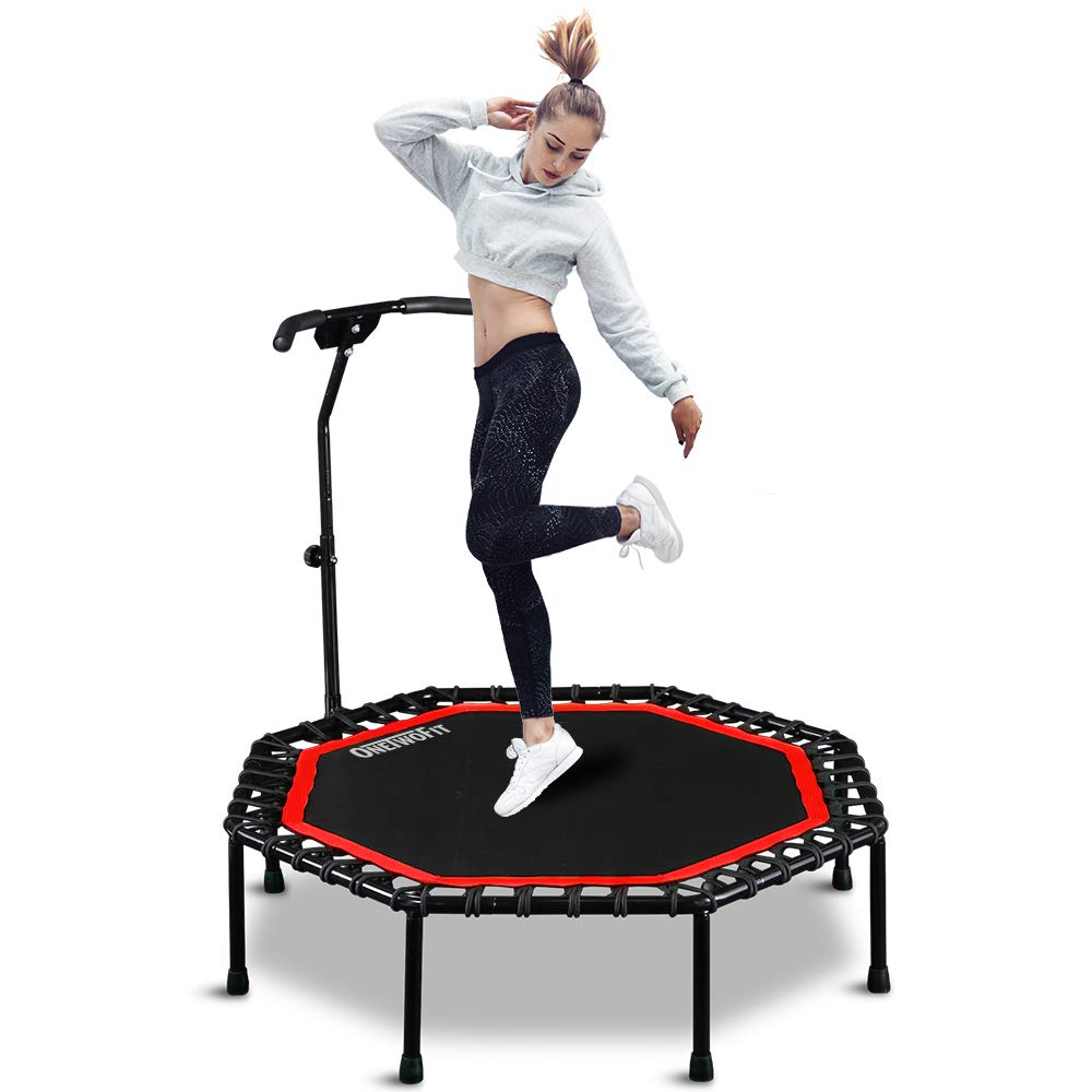 ONETWOFIT 51'' Silent Trampoline with Adjustable Handle Bar, Fitness Trampoline Bungee Rebounder Jumping Cardio Trainer Workout for Adults OT104