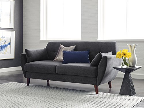 "Serta Artesia Collection 73"" Sofa in Slate Gray - The Serta Artesia Sofa is a comfortable sofa with soft mid-century modern styling Made from velvety microfiber fabric offered in three classic colors Features tufted back details and two matching pillows to make it even more comfortable - sofas-couches, living-room-furniture, living-room - 51O98O4ZcxL -"