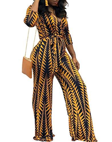 (Ophestin Women Deep V Neck 3/4 Sleeve Digital Geometric Print Belted Bodycon Wide Leg Jumpsuits Rompers Yellow M)