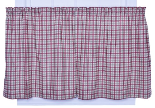 (Ellis Curtain Bristol Collection Two-Tone Plaid 68 by 30-Inch Tailored Tier Curtains, Red)