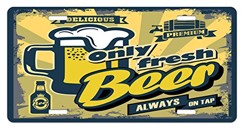 Man Cave License Plate by Lunarable, Delicious Fresh Premium Beer Retro Old Fashion Graphic Design Bottle Keg Mug Foam, High Gloss Aluminum Novelty Plate, 5.88 L X 11.88 W Inches, Multicolor