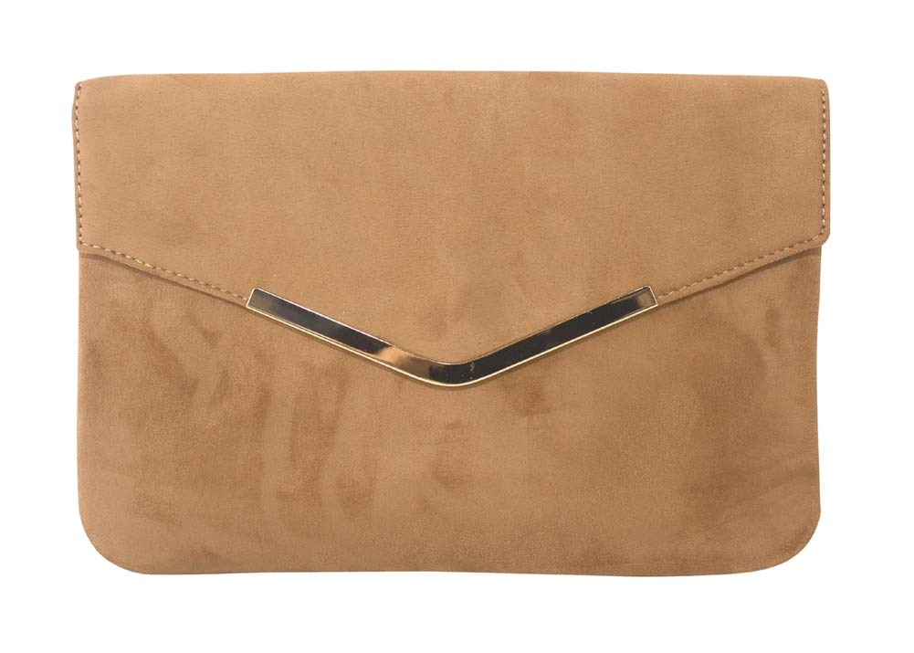 Chicastic Suede Envelope Clutch Purse - Tan/Beige