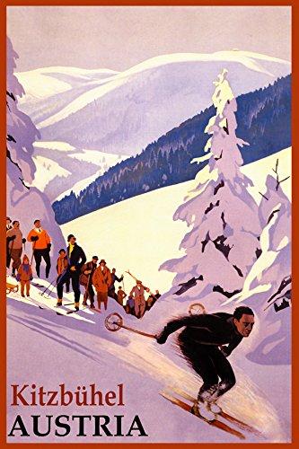 Deportes de Invierno Kitzbuhel Ski Resort Austria Montañas Esquí Alpino clásico Cartel De Viaje Repro en papel o lona,...