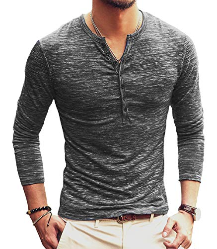 PERDONTOO Men's Slim Fit Long Sleeve Henley T-Shirt Casual Basic Tee (Large, Dark Grey) ()