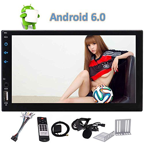 Eincar Auto Radio Android 6.0 Car Radio Stereo Double Din no DVD Player 7 Inch full Touch Screen Autoradio in Dash GPS Navigation Bluetooth FM/AM/RDS Wifi Quad-core Colorful Lights Headunit Support OB