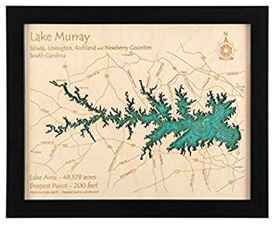 Kentucky Lake and Lake Barkley in , KY TN - 2D Map (Black Frame/No Glass Front) 11 x 14 IN - Laser carved wood nautical chart and topographic depth map.