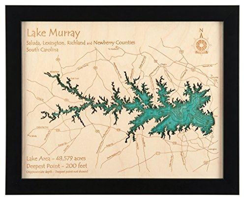 Sam Rayburn Reservoir in Nacogdoches San Augustine Angelina Jasper Sabine, TX - 2D Map (Black Frame/No Glass Front) 11 x 14 IN - Laser carved wood nautical chart and topographic depth map. by Long Lake Lifestyle