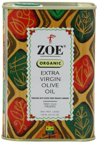 Zoe Organic Extra Virgin Olive Oil 25.5 FL. OZ. tins (Pack of 2), Organic Spanish Extra Virgin Olive Oil, First Cold Pressing of Spanish Cornicabra Olives, Delicate Aromatic Buttery Flavor, Kosher