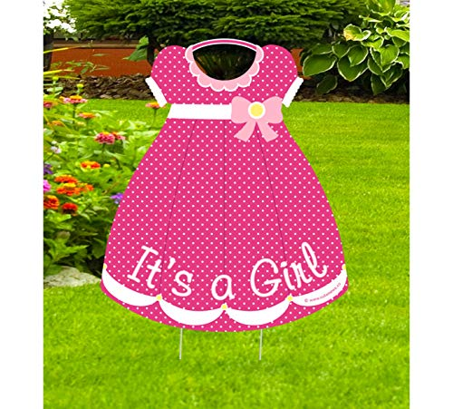 Cute News It's a Girl Yard Outdoor Sign - Pink Baby Dress Lawn Announcement - Welcome Home Newborn - Gender Reveal Shower Party Decoration - Hospital Door Wreath Hanger (Multiple Uses) ()