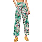 PENGYGY Women Ladies Printing Floral Pants Long Pants Wide Baggy Fashion Leggings Casual Autumn & Winter
