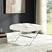 Modway Swift Acrylic X-Base Entryway Modern Bench With Tufted Fabric Upholstery in Ivory