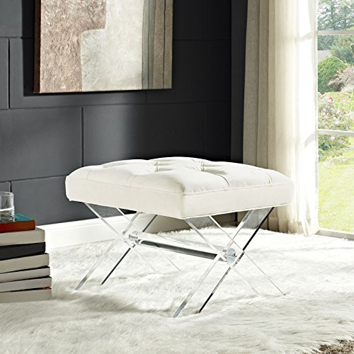 Modway Swift Acrylic X-Base Entryway Modern Bench With Tufted Fabric Upholstery in - Furniture Allure Designs