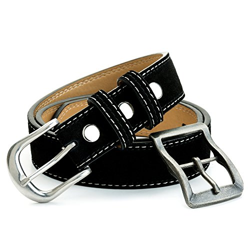 Belt Stud Double - Suede Leather Belt with Two Inter Change-able 1-3/8