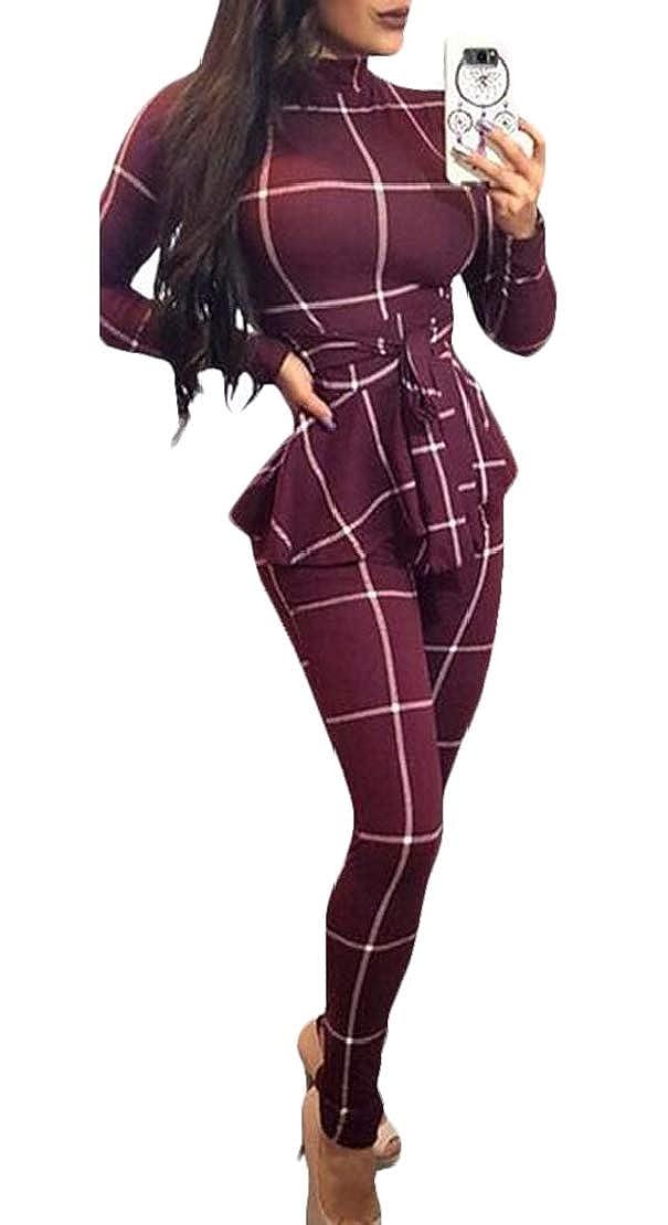 Jotebriyo Womens Long Sleeve Fashion Belted Slim Plaid Jumpsuit Romper