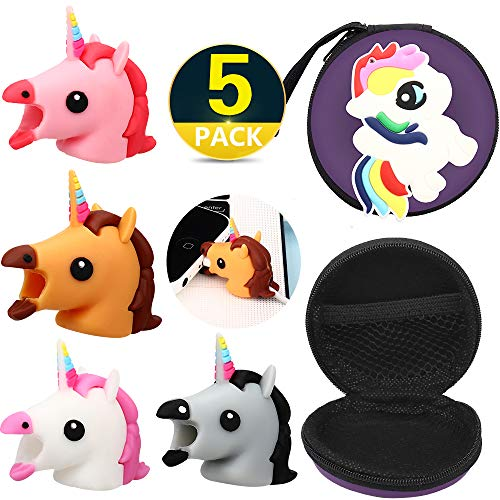 RHCPFOVR  5 Pack Unicorn Cable Bite Storage Bag,Various Animal Cable Cord Data Line Cell Phone Accessories Protects Creative Gift