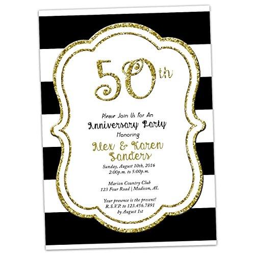 Black White Gold Glitter 50th Wedding Anniversary Invitations Golden