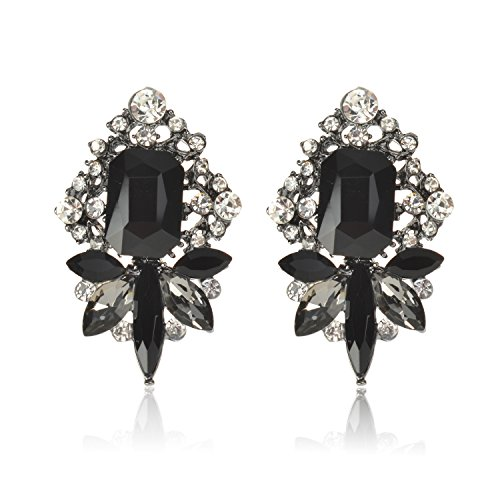 Ginasy Personalized Crystal Stud Earrings Set - Retro Design Studs Jewelry for Women Girls (Bling Black 0.98