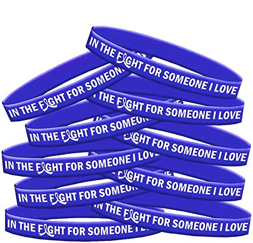 in The Fight for Someone I Love Colon Cancer Huntington's AS Wristband Bracelet 10-Pack -