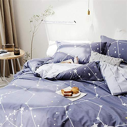 Softta Space Constellation bedding set Star Map Universe Galaxy Duvet Cover Full Queen 3 pcs 100% Cotton Gray Blue Purple for Teen Boys Girls Men Women
