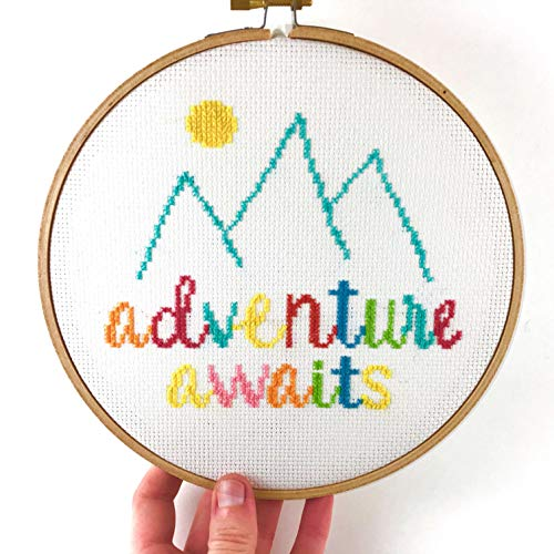 - Adventures Awaits Cross Stitch Kit - Modern Beginner Counted Cross-Stitch Pattern - Colorful Quotes, Mountains, and Sun (Hoop)