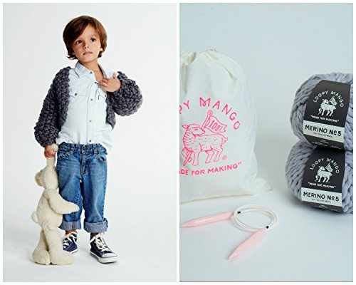 Loopy Mango DIY Kit - Mini Cropped Cardigan 2-4 years old (Bubble Gum) by Loopy Mango