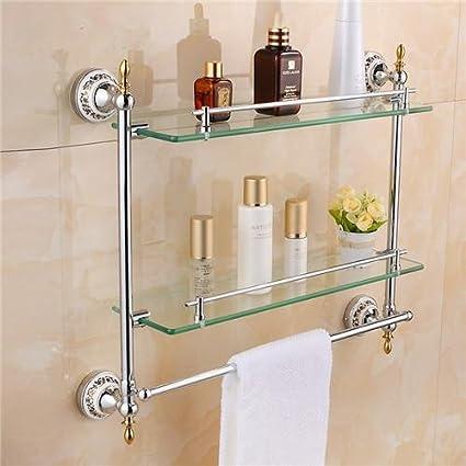 Amazon.com: Ouku Wall Mount Bathroom Towel Shelf Two Floor Glass ...
