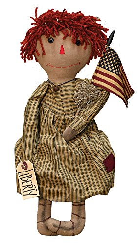 "CWI Gifts Liberty Annie Doll with Red Yarn Hair and American Flag, 19.5"" x 7"""