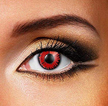 Cosmetic Contact Lenses,Colour Contact Lens, Multi-Color Colored Cute Charm and Attractive Fashion Contact Lenses Cosmetic Makeup Eye Shadow For Halloween Cosplay With a contact lens case (Red) -