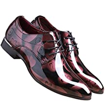 Men Fashion Shoes Dress Pointed Toe Floral Patent Leather Lace Up Oxford by Santimon Black Brown Red Grey