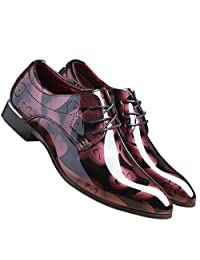 Santimon Men Fashion Shoes Dress Pointed Toe Floral Patent Leather Lace up Oxford by Black Brown Red Grey