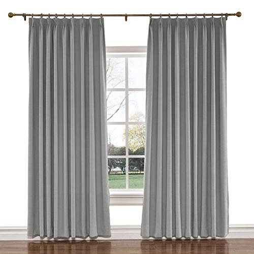 (TWOPAGES 72 W x 84 L inch Pinch Pleat Darkening Drapes Faux Linen Curtains with Blackout Lining Drapery Panel for Living Room Bedroom Meetingroom Club Theater Patio Door (1 Panel),Rock Grey)